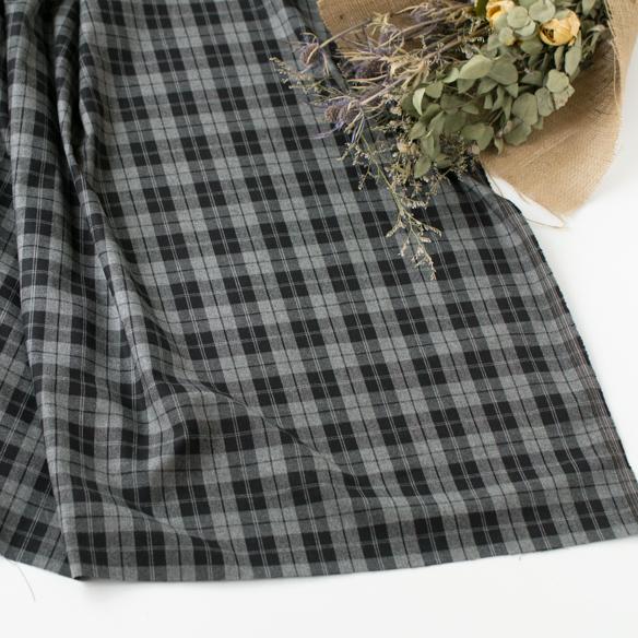 【布帛】表ピーチ起毛ストレッチツイルチェック(グレー×ブラック) オーダーカット
