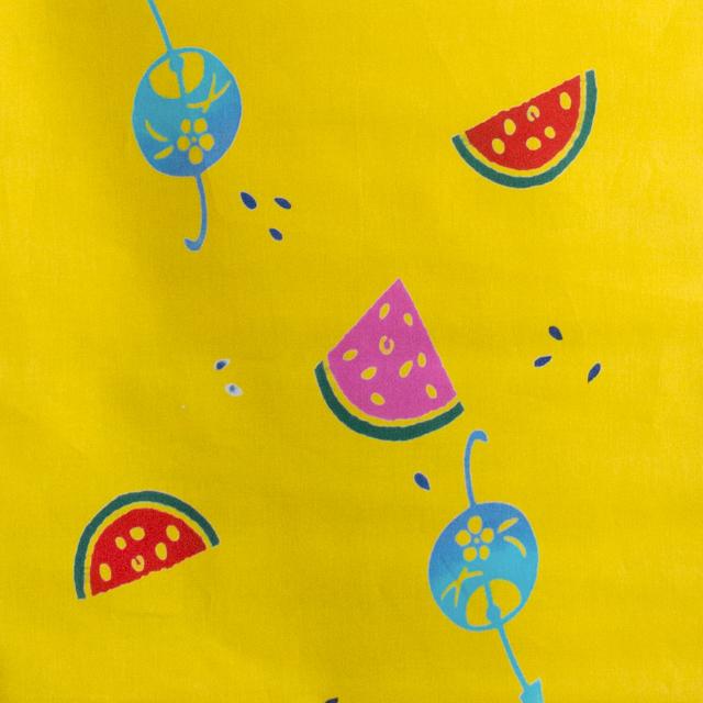 【浴衣生地】スイカと風鈴柄(黄くちなし色)7.5メートルカット済み