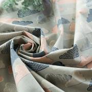 【ワンコイン特価】【布帛】綿麻キャンバスくも柄  オーダーカット