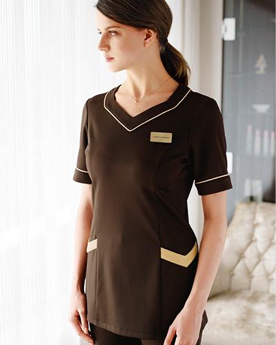 00105 BONUNI(ボンユニ) B-SPA(ビースパ)ニットワッフルシャツ半袖女性用