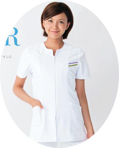 109-20 ナースジャケット半袖ホワイト KAZEN・カゼン