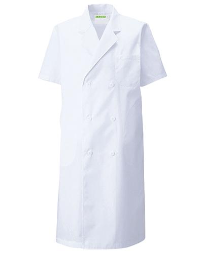 117-30 診察衣ダブル型半袖メンズ ブロード KAZEN・カゼン