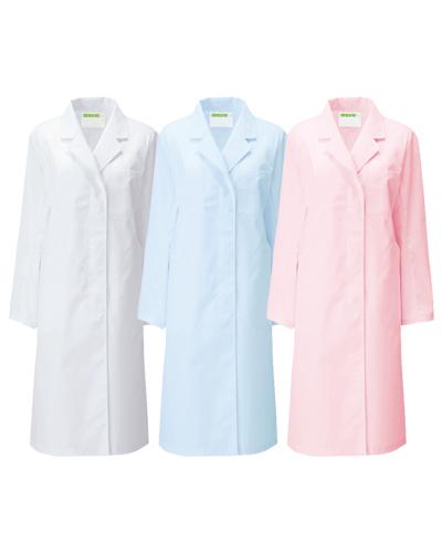 120 診察衣シングル型長袖レディス(ホワイト・サックス・ピンク) ポプリン KAZEN・カゼン