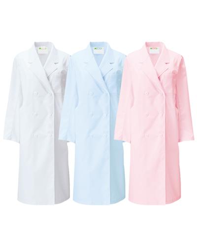 125 診察衣ダブル型長袖レディス(ホワイト・サックス・ピンク) ポプリン KAZEN・カゼン