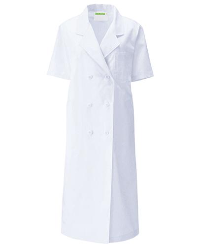 127-30 診察衣ダブル型半袖レディス ブロード KAZEN・カゼン