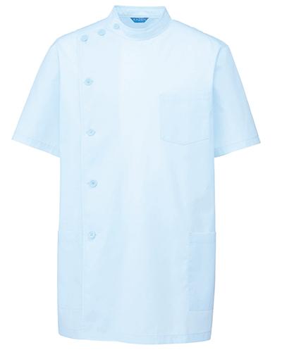 132-31 メディカルジャケット半袖メンズ サックス ブロード KAZEN・カゼン