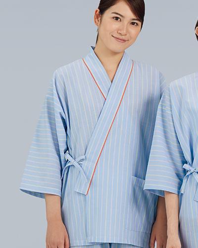 285-98 患者衣(甚平型)男女兼用ストライプ柄 KAZEN・カゼン(上下別売り)