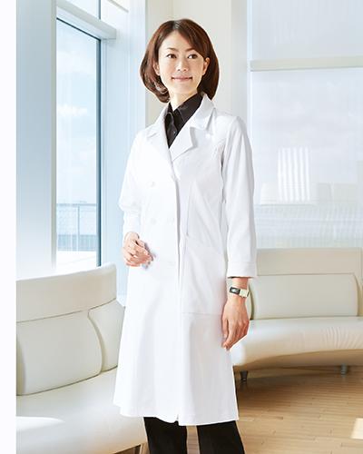 CM703 レディースコート ロング丈 薬局衣 WECURE(ウィキュア)