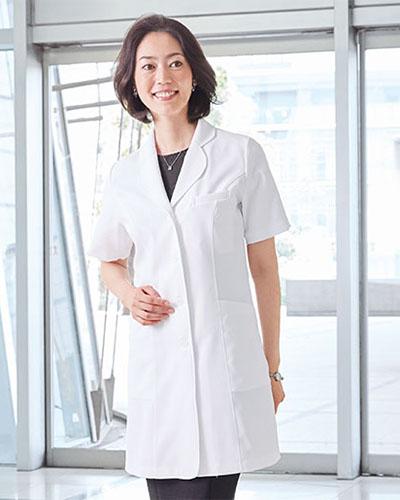 CM705 半袖レディースコート 薬局衣 WECURE(ウィキュア)