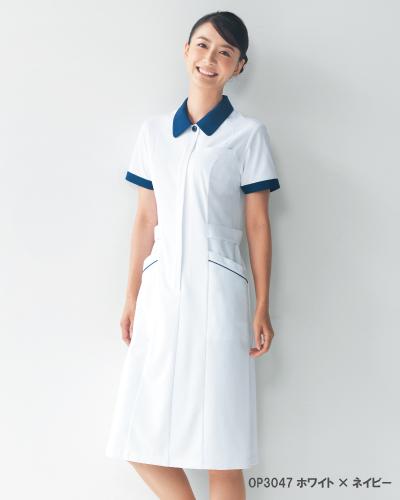 OP-3047 オンワード商事(ONWARD) レディスワンピース ホワイトxネイビー