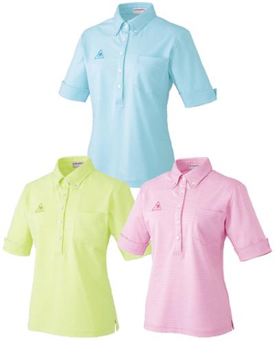 【半額セール対象】UZL8026 レディース ボタンダウンシャツ(5分袖) ルコックスポルティフ