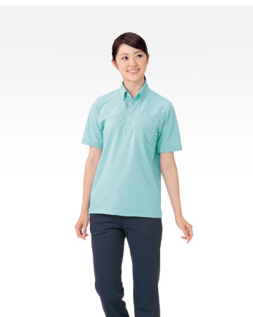 APK237 介護用ボタンダウンニットシャツ男女兼用 KAZEN・カゼン