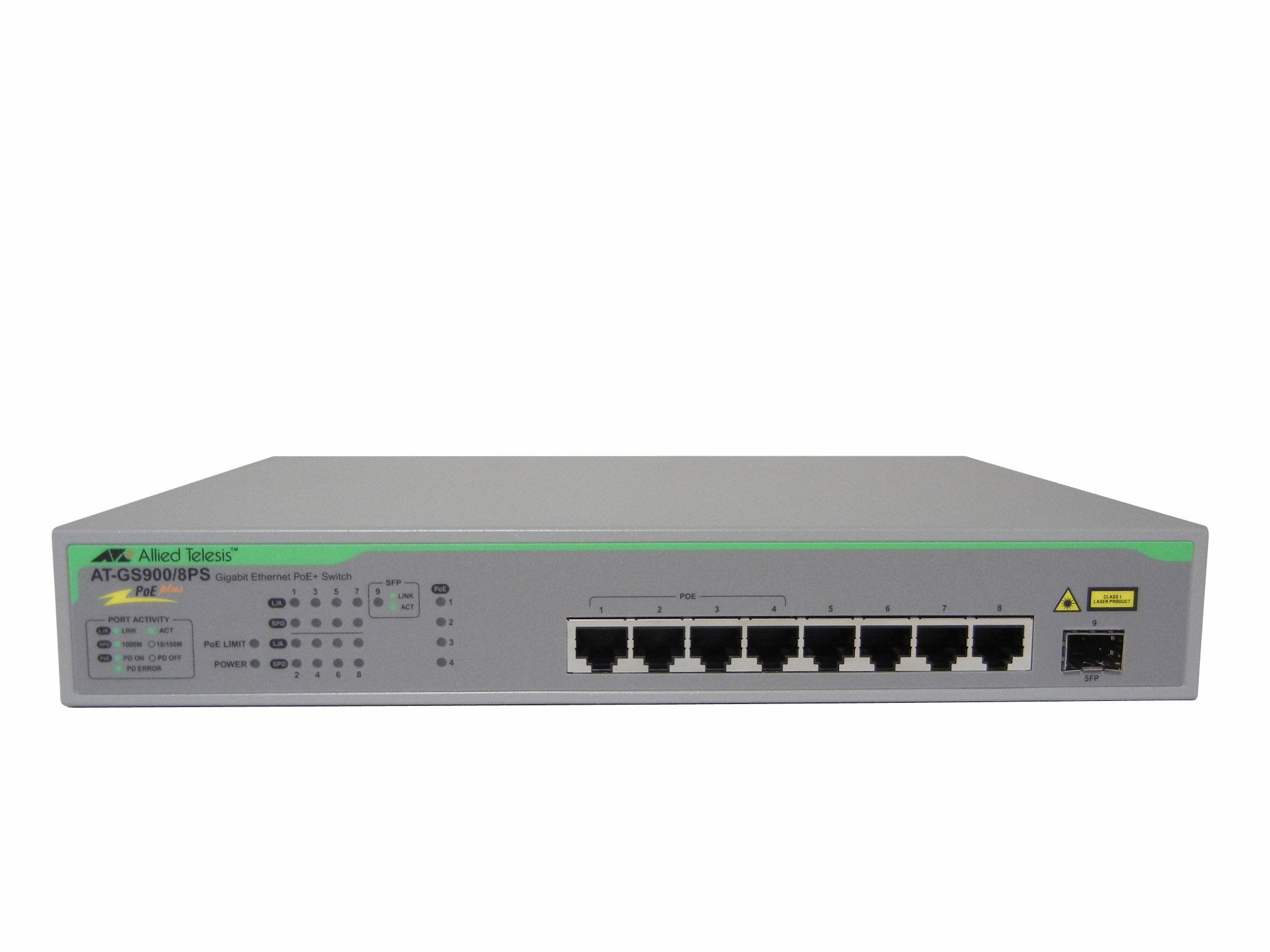 【中古】AT-GS900/8PS Allied Telesis ギガビットイーサネット・PoE+スイッチ