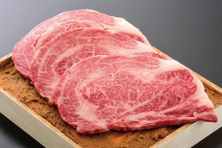 米沢牛ロースすみれ漬160gx3枚(計480g) 木箱入 (冷蔵)送料無料