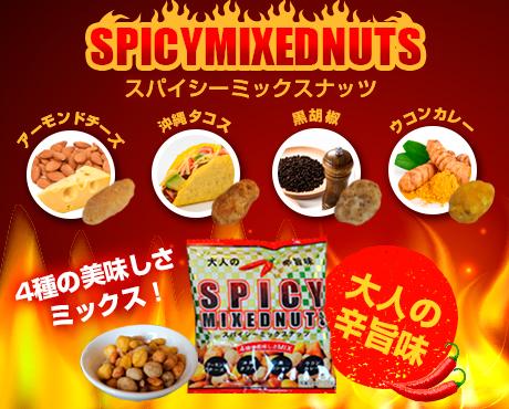 4種の味が楽しめるスパイシーミックスナッツ 16g×12袋×12セット 巾着
