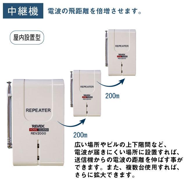 ワイヤレスチャイム&介護アシストシステム 中継器 REV2000【介護用品:安全管理機器】