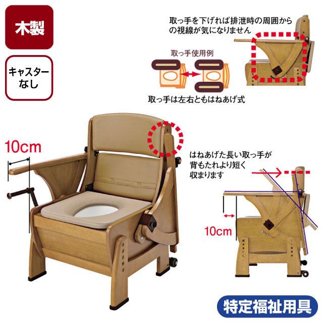 ナーセントポータブルトイレ木製ピボット型 キャスターなし【介護トイレ】