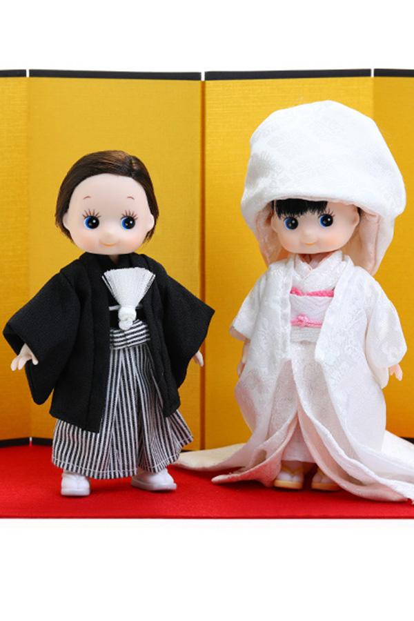 【11FQ-A09-WM】フル可動 夫婦キューピー(白×桃)