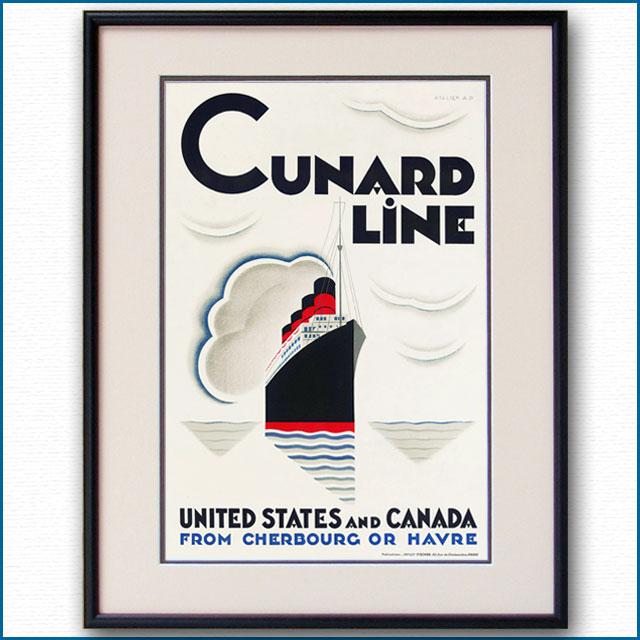 1929年 キュナードラインのポスター 2278LL黒