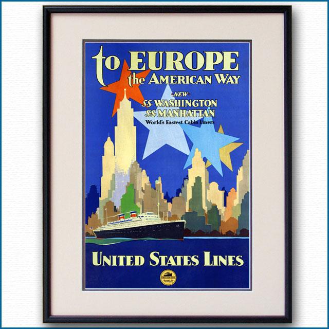 1932年 ユナイテッド・ステーツ・ライン 客船ワシントン・マンハッタンのポスター 2387LL黒
