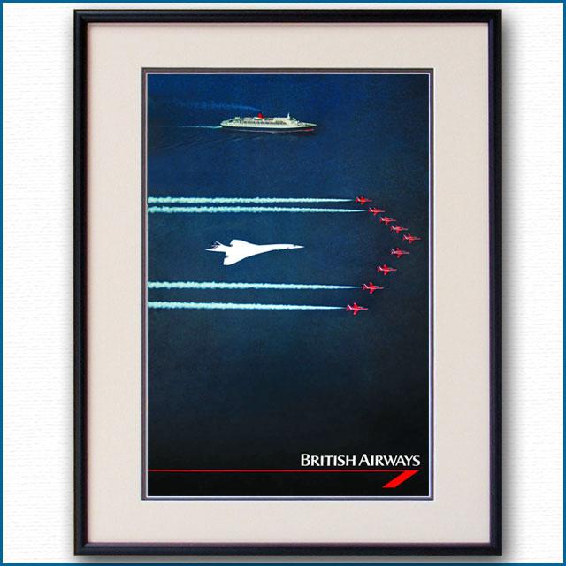 1995年 ブリティッシュエアウェイズ コンコルド・客船クイーンエリザベス2のポスター 2609LL黒