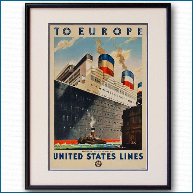 1928年 客船リバイアサンのポスター 2611LL黒