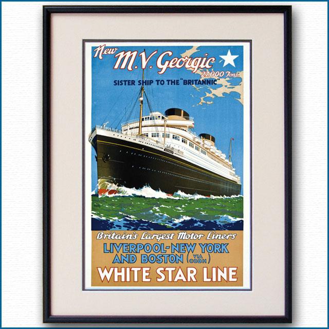 1931年 ウォルター・トーマス 客船ジョージックのポスター 2779LL黒