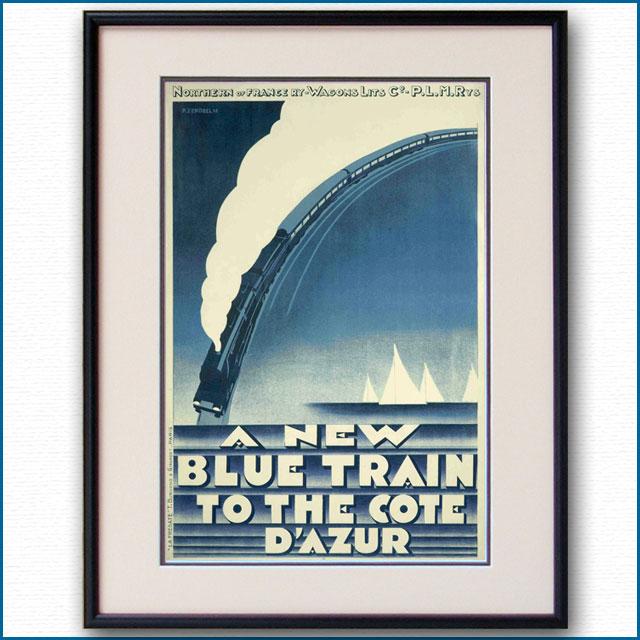 1928年 ピエール・ゼノーベル 青列車ル・トラン・ブルーのポスター 黒