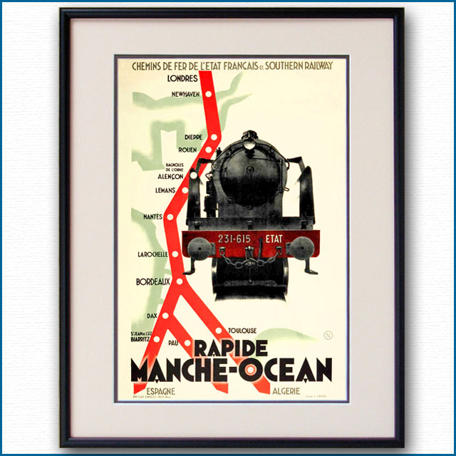 1930年 フランス地方鉄道・英国サザン鉄道のポスター 黒