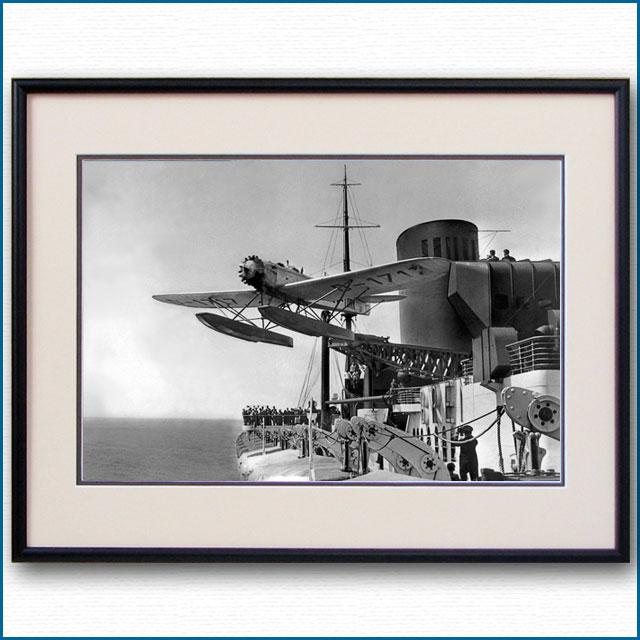 1931年 客船ブレーメン・ハインケル発艦の写真 3240LL黒