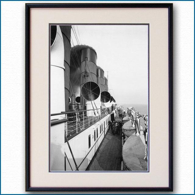 1910年頃 客船モーレタニア・アッパーデッキの写真 3253LL黒