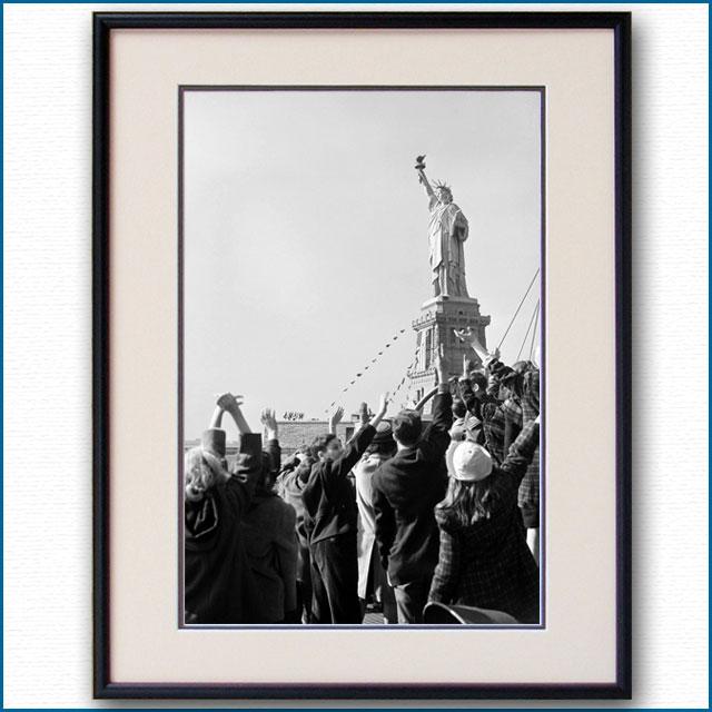 1930年代 乗船客と自由の女神の写真 3306LL黒