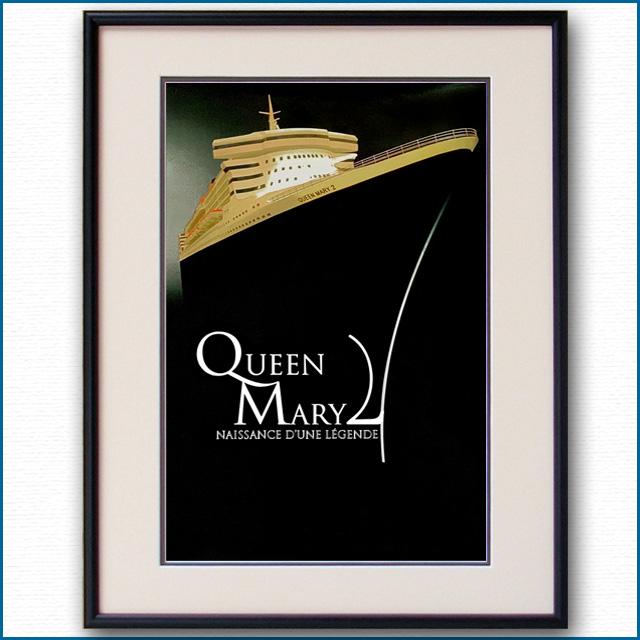 2003年 クイーンメリー2 竣工記念のポスター 3334LL黒