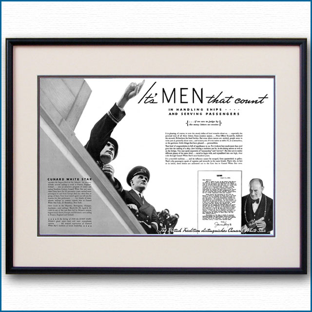 1935年 キュナードホワイトスター見開き雑誌広告 3356LL黒
