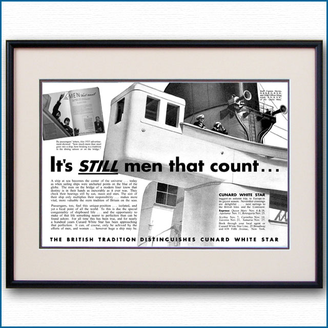1936年 キュナードホワイトスター・客船クイーンメリー見開き雑誌広告 3369LL 黒