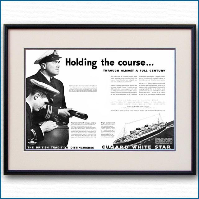 1939年 キュナードホワイトスター見開き雑誌広告 3370LL 黒