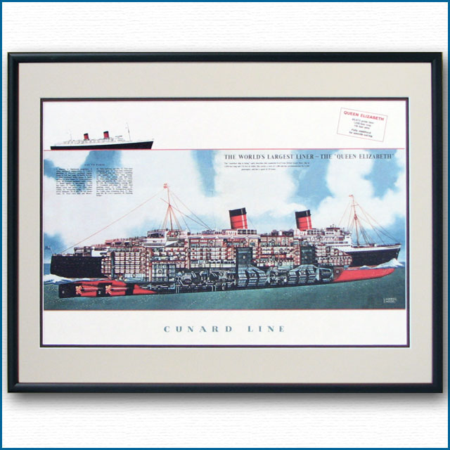 客船クイーンエリザベスの断面図・額入りアートポスター HGV2472BK