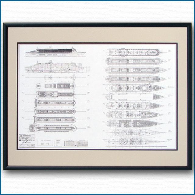 クイーンメリー2の図面・一般配置図、額入りアートポスター HGV2476BK