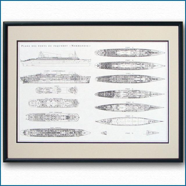 ノルマンディーの図面・一般配置図、額入りアートポスター HGV2478BK