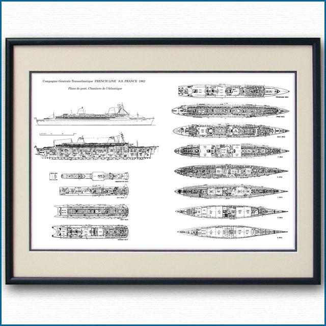 客船フランスの一般配置図 図面・デッキプラン 額入りアートポスター 2700XL黒