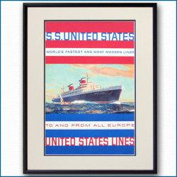 1958年 客船ユナイテッドステーツのポスター 2032LL黒