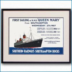 1936年 レスリー・カー 客船クイーンメリーのポスター 2131LL黒