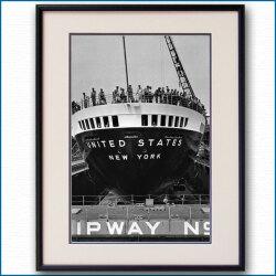 1952年 客船ユナイテッドステーツ・船尾の写真 2155LL黒