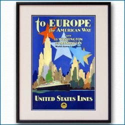 1932年 ユナイテッド・ステーツ・ライン 客船ワシントン・マンハッタンのポスター 黒