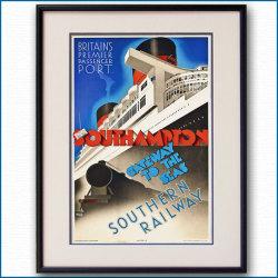 1939年 英SR鉄道・客船クイーンエリザベスのポスター 2764LL黒