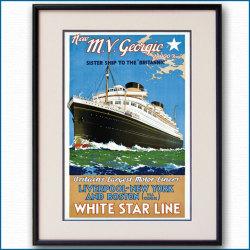 1931年 ウォルター・トーマス 客船ジョージックのポスター 黒
