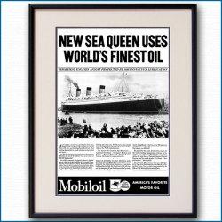 1936年 客船クイーンメリー・モービル石油雑誌広告 3343LL黒