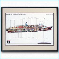 クイーンエリザベス2の断面図・額入りアートポスター HGV2471BK