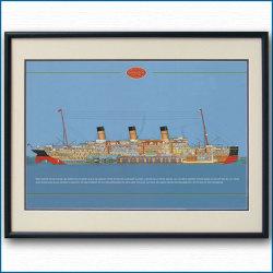 客船マジェスティックの断面図・額入りアートポスター 2707XL黒