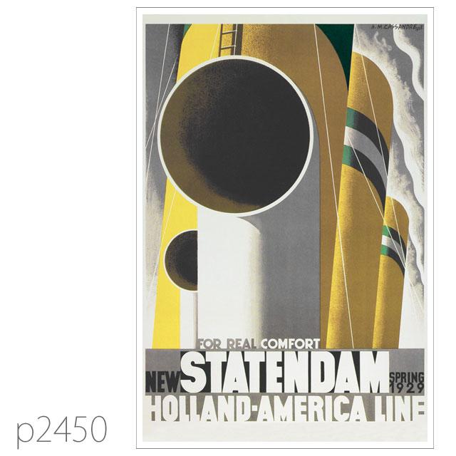 ホ−ランドアメリカライン・客船スタテンダムのポスター | レプリカポストカード2450